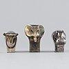 Gunnar cyrén, a set of three silver-plated zinc figurines, dansk designs, japan.