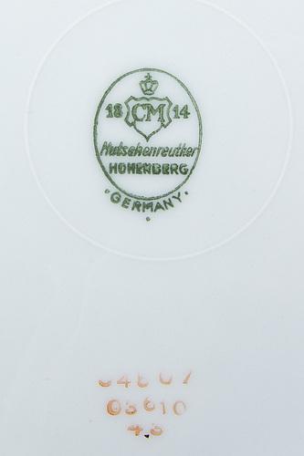 Matservis, 61 delar, porslin, hutschenreuther hohenberg, 1900-talets mitt.