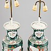 A pair of chinese famille verte vases turned into table lamps, 20th century.
