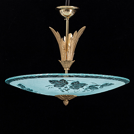A mid 20th century glass ceiling light.