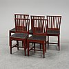 Five painted chairs. 19th century.