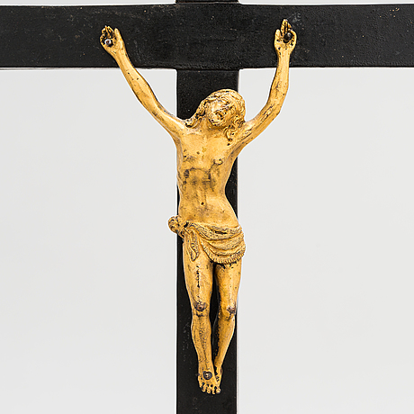 A bronze and wood crucifix, possibly 18th century.