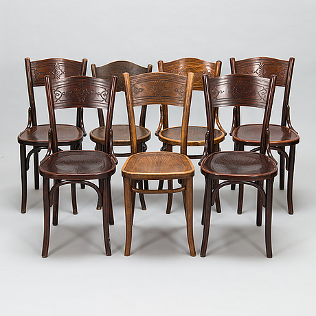 Chairs, 7 similar, first half of the 20th century, including thonet.