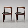 Hans olsen, a set of six chairs, frem røjle, denmark 1950's.