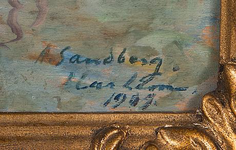 Armid sandberg, öljy levylle, signeerattu ja päivätty 1909.