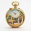 """Charles reuge """"the fountain"""", musical automaton pocket watch, alarm, 57 mm."""
