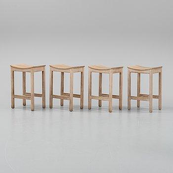Four oak stools by Jonas Lindvall, 1990's.