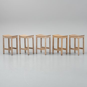 Five oak stools by Jonas Lindvall, 1990's.