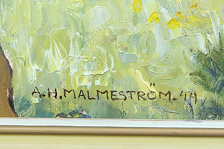 Akke hugh malmeström, oil on panel signed and dated 44.