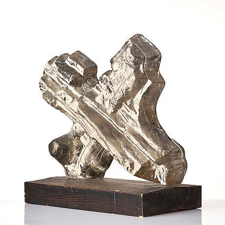 Edvin öhrström, a cast glass sculpture, lindshammar, sweden 1960's, ed. 2/5.