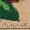 Albin amelin, mixed media on paper-panel, signed and dated -62.