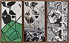 Johan scott, oil/acrylic on papercanvas, triptyk, signed and dated 1990 verso.