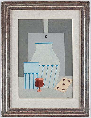 Otto g carlsund, still life with glass, vases and playing cards.