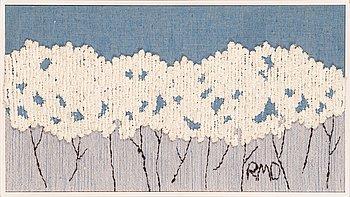 Riitta-Maija Oksanen, a tapestry signed RMO for Helmi Vuorelma. Circa 48x85 cm.