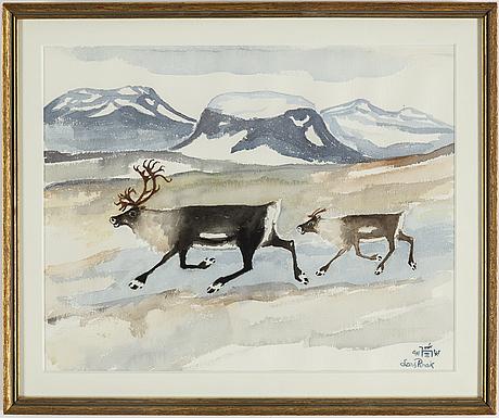 Lars pirak, watercolour, signed.