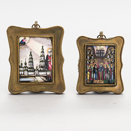 Two russian travel icons, turn of the 20th century.