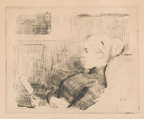 Albert edelfelt, etsning, signed i plåten.