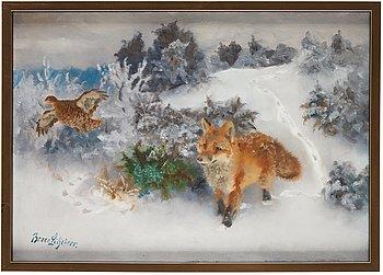 517. Bruno Liljefors, Winter landscape with fox stalking black grouse.