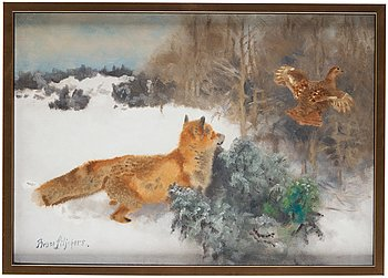 518. Bruno Liljefors, Winter landscape with fox and fleeing black grouse.