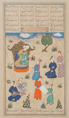 Two bookilluminations in gouache on paper from india / persia.