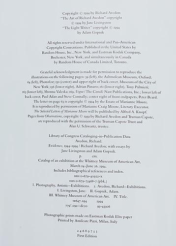 Richard avedon, book evidence 1944–1994 signed 1994.