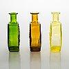Nanny still, a set of three 'stella polaris' bottles, riihimäen lasi, finland. 1968-1973.