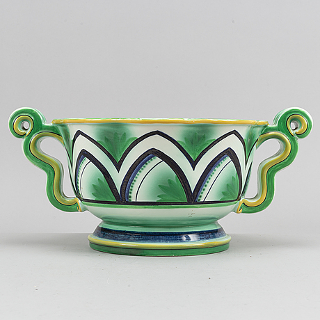 An earthenware swedish grace pot/bowl by arthur percy for gefle, 1920's-30's.