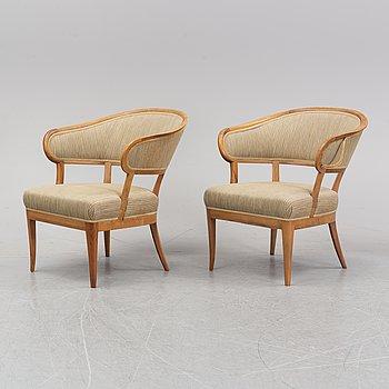 A pair of 'Erik Gustav/Jonas Love' armchairs by Carl Malmsten, second half of the 20th Century.
