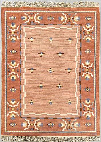 A swdish signed and dated art deco flatweave carpet 1947 ca 344 x 244 cm.