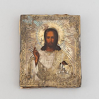 An icon with ochlad, Russia, 19th Century, tempera on pamnel.