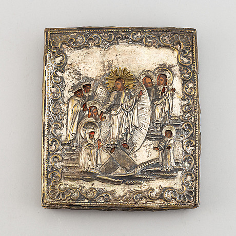 A russian icon with ochlad, rempera on panel, 19th century.
