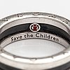 "Bulgari, ring, ""save the children"", sterlingsilver, keramisk dekor. italien. märkt n98e9p, made in italy."