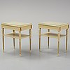 A pair of gustavian style bedside tables, bodafors, mid 20th century,