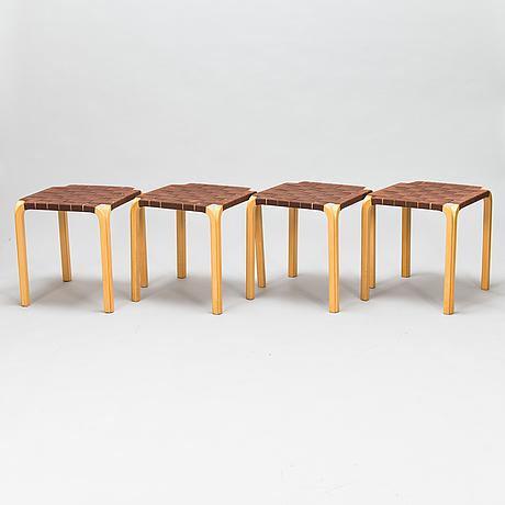 Alvar aalto, a set of four mid 20th century 'y61' stools for artek. finland.