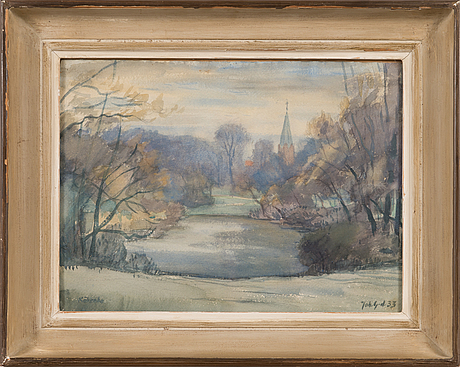 Johannes gebhard, water colour, signed and dated-33.