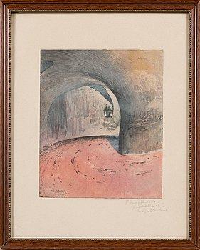 Fredrik Gabriel Ålander, color etching, signed on plate and dedication to V.Hämäläinen in pencil.