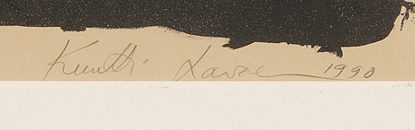 Kuutti lavonen, litograph, signed and dated 1990, numbered 6/30.