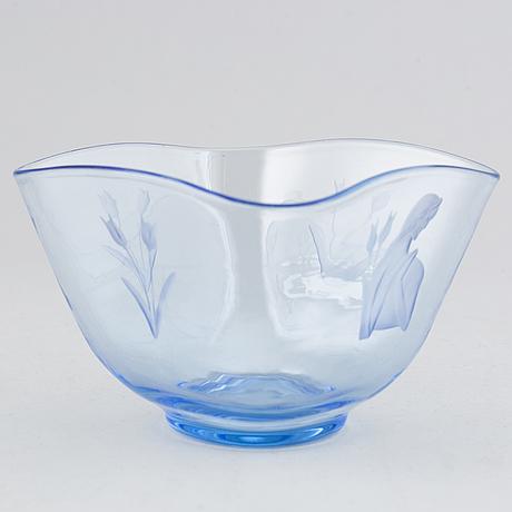 Aimo okkolin, a glass bowl signed riihmäen lasi oy ao.