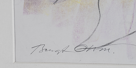Bengt olson, chalk drawing, signed.
