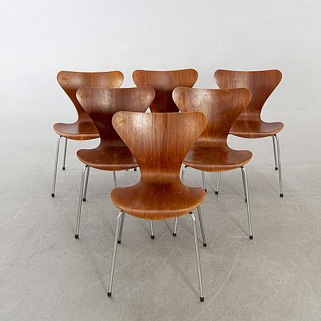 """Arne jacobsen, stolar 6 st, """"sjuan"""", fritz hansen, 1960-tal."""