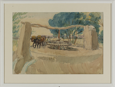 Hilding linnqvist, watercolour and pencil on paper, signed with monogram hl. executed in egypt in 1947.