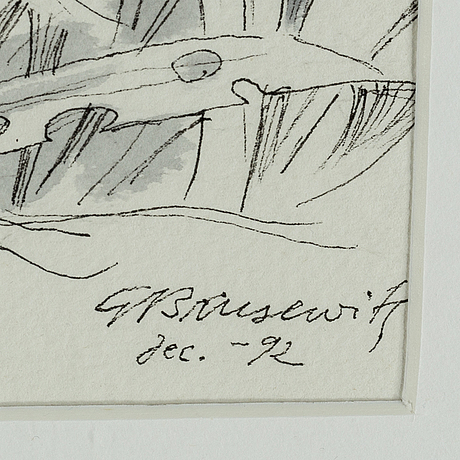 Gunnar brusewitz, ink wash, signed and dated dec -92.