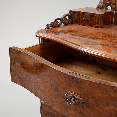 A dressing chest of drawers with mirror, second half 1800's.