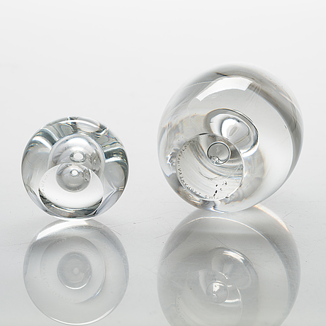 Timo sarpaneva, two mid-20th-century glass sculptures, both signed. iittala, finland.