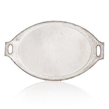 A Russian silver tray, maker's mark of Henrik Petman, Saint Petersburg 1811.