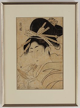 A Japanese woodblock print, presumably after Ichirakutei Eisui (1790-1823), Japan, late 19th/early 20th century.