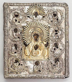 A Ryazan icon with a riza in silver and gilt silver, Russia, 19th century.