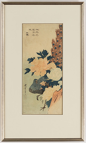 "Utagawa hiroshige (1797–1858), after, colour woodblock print, japan ""peacock and peonies"", late 19th/early 20th century."