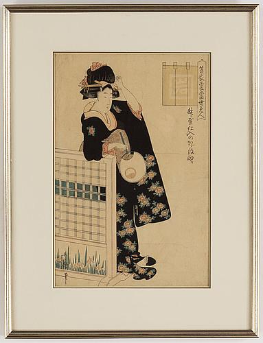 Utamaro kitagawa (c.1753-1806), after, colour woodblock print, japan, late 19th/early 20th century.