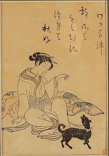 Suzuki harunobu (1724/25-70), efter, färgträsnitt. japan, sent 1800/tidigt 1900-tal.
